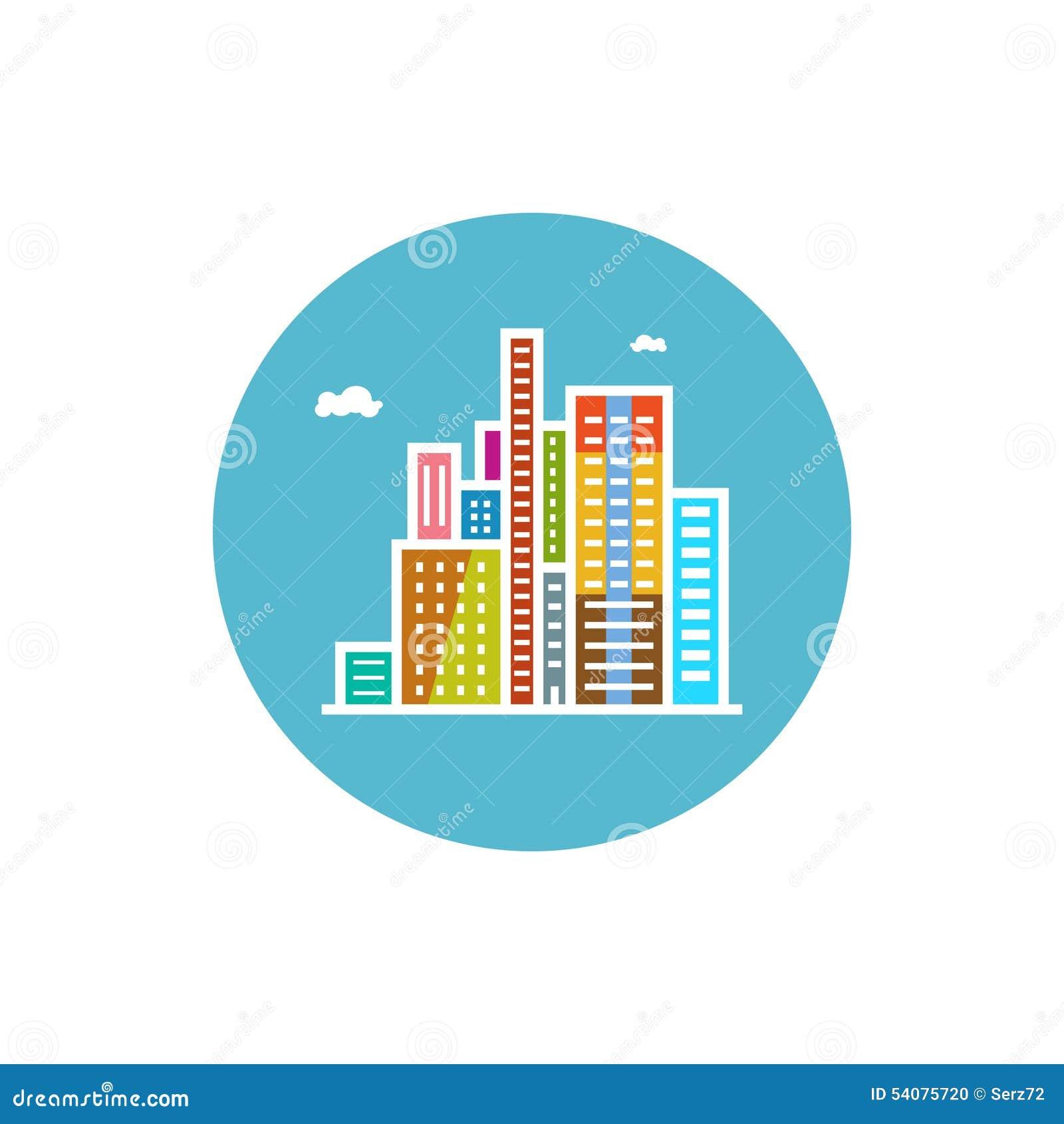 Modern gebouwenpictogram, stadspictogram