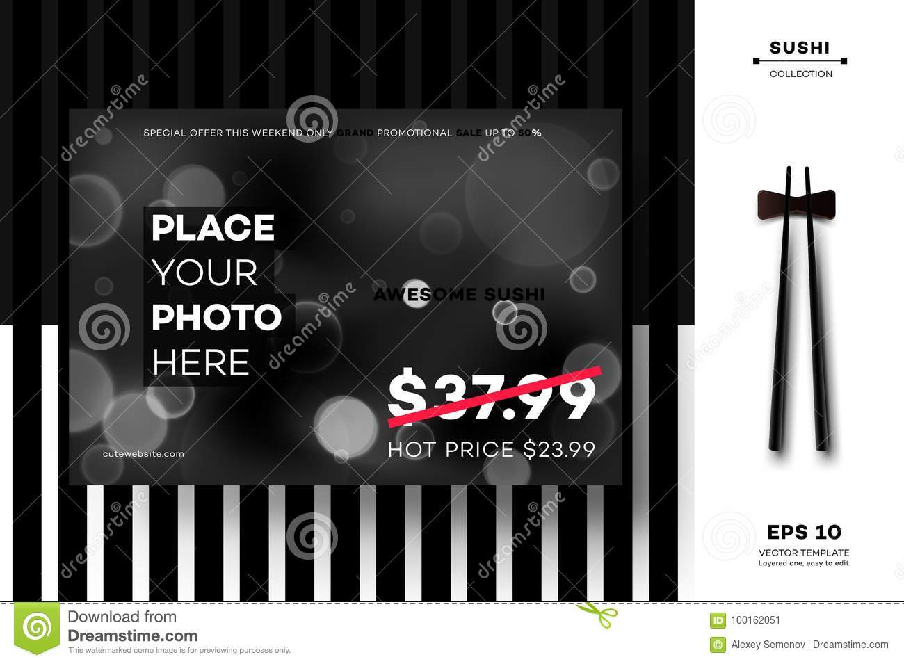 modern geometric black white mockup vector layout template for