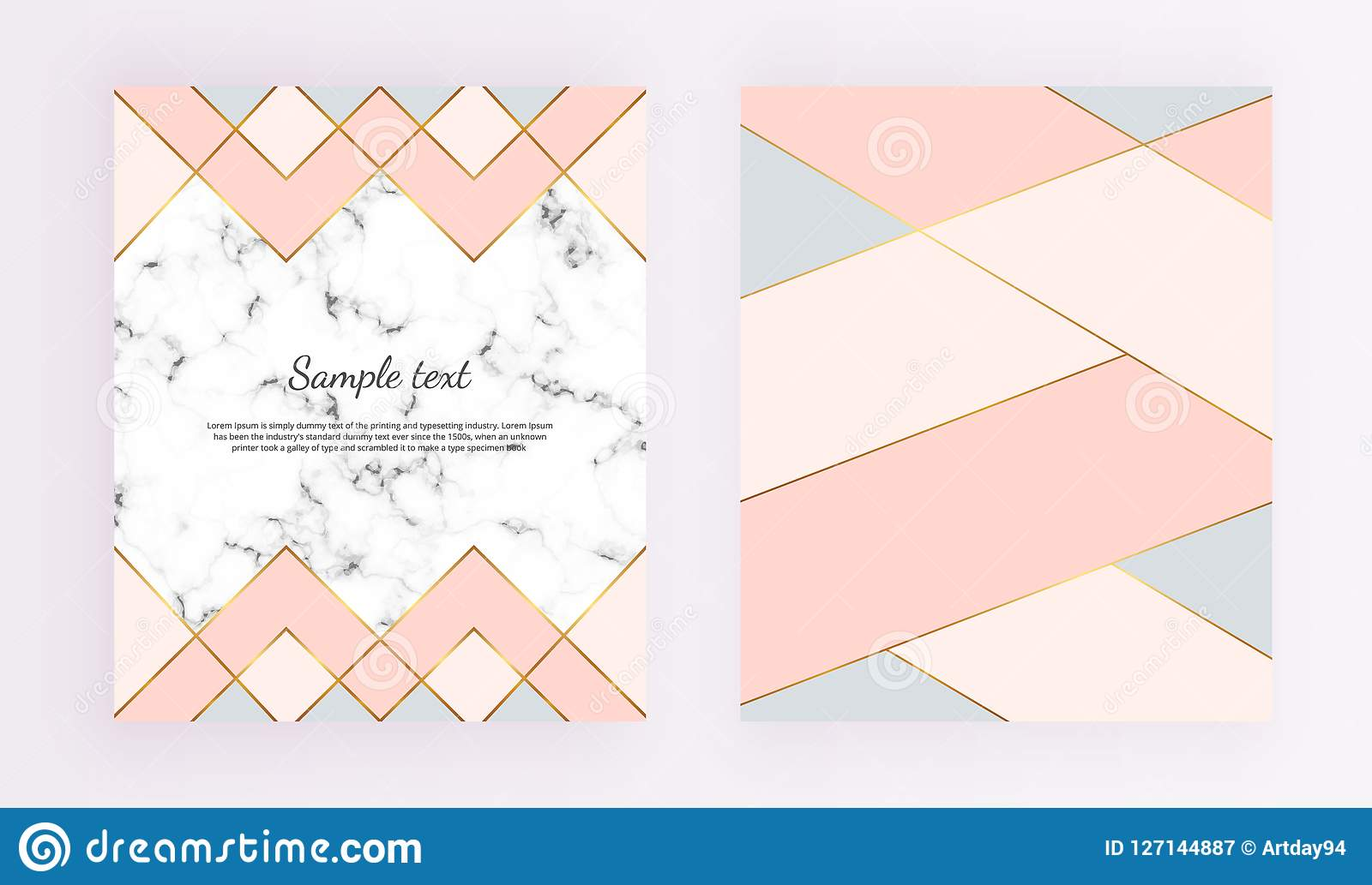 Modern geometric designs with marble texture, gold lines, pink, blue colors background. Trendy template for design banner, card, f