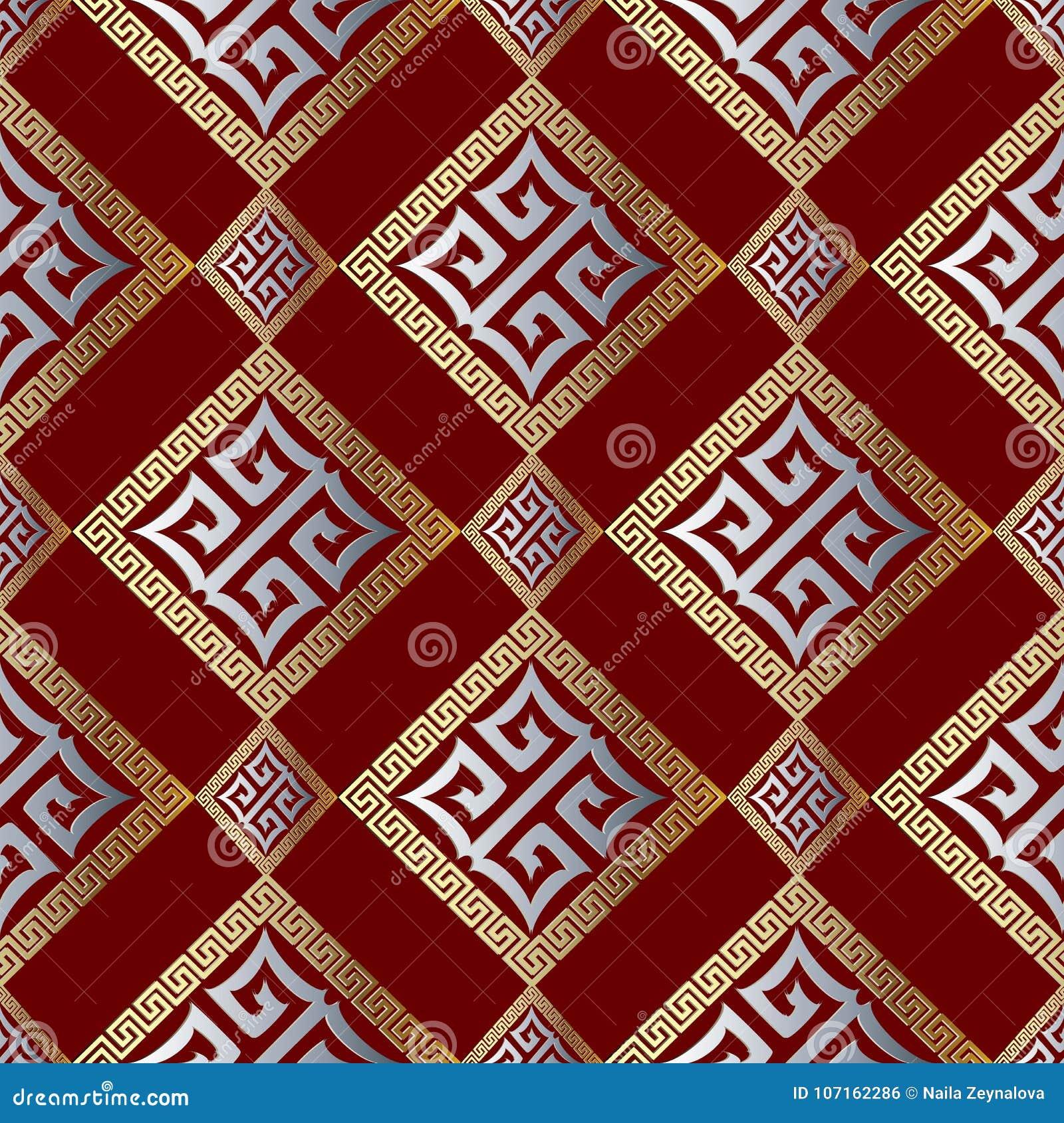 Modern Geometric Greek Key Seamless Pattern Abstract Red