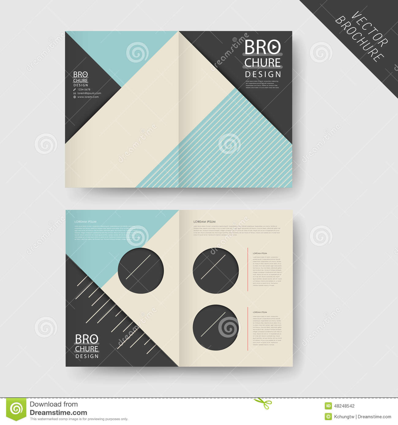 Modern geometric half fold brochure stock vector for Modern brochure design templates