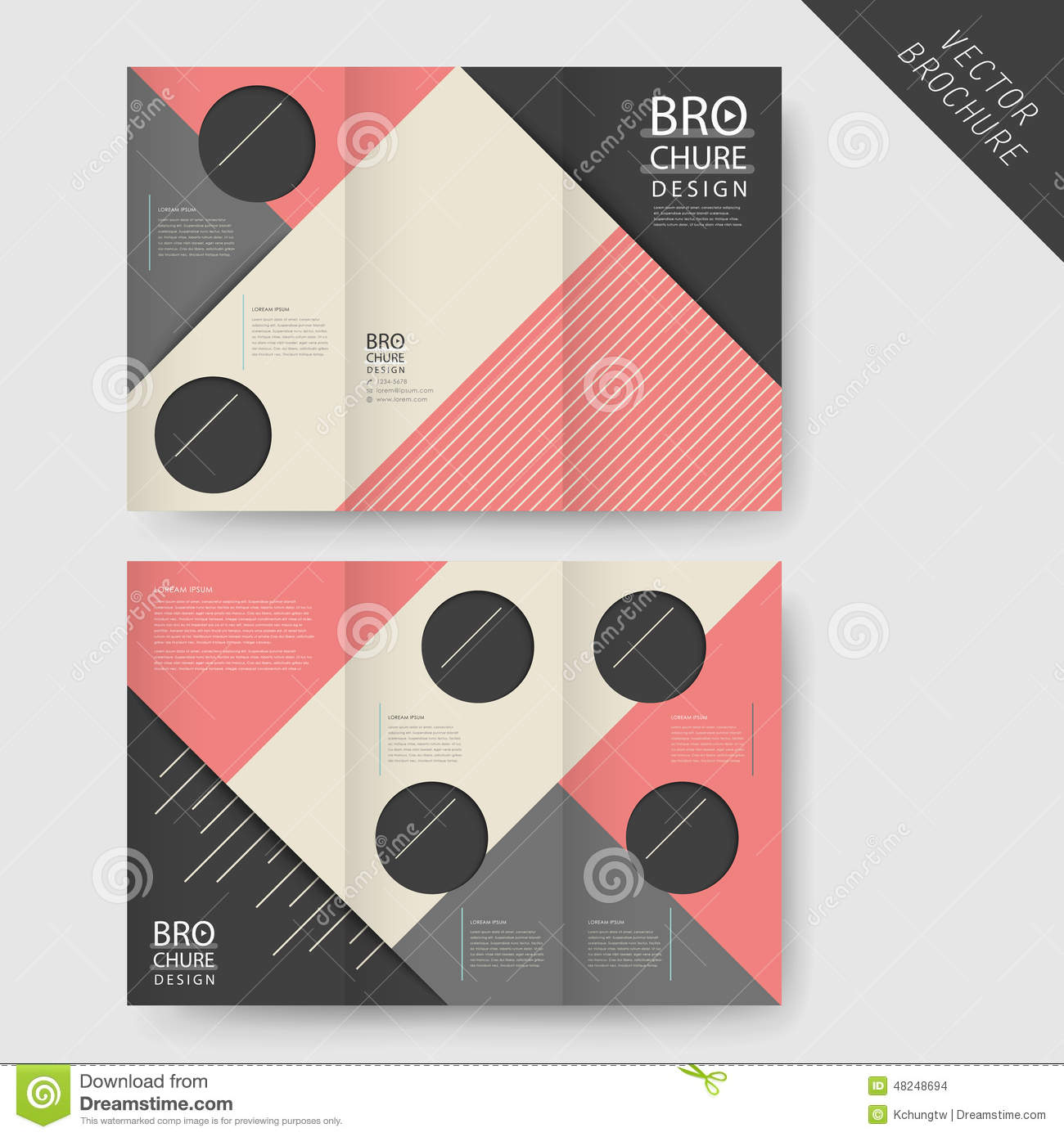 Modern geometric tri fold brochure stock vector image for Modern brochure design templates