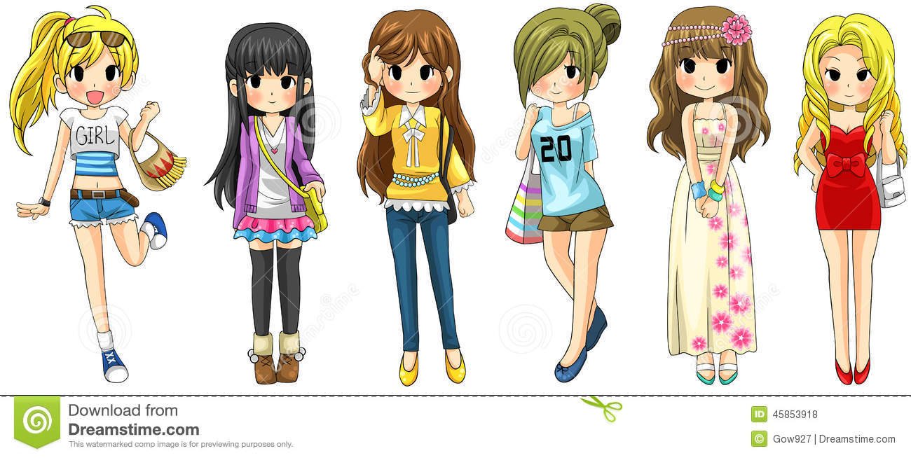 Modern Girl Fashion Cartoon Collection Set 1 Vector Stock Vector Image 45853918