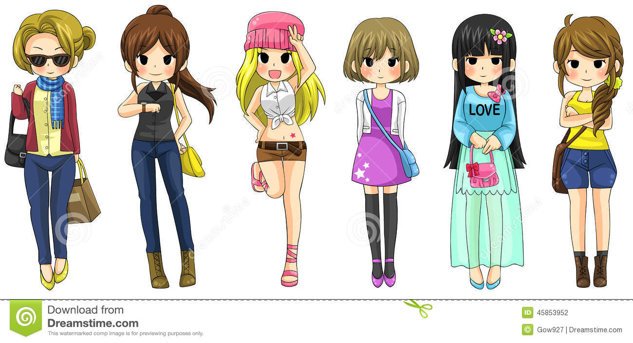 Modern Girl Fashion Cartoon Collection Set 2 Vector
