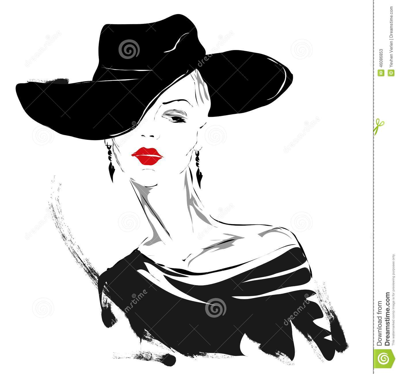 Red Lips Lady Painting