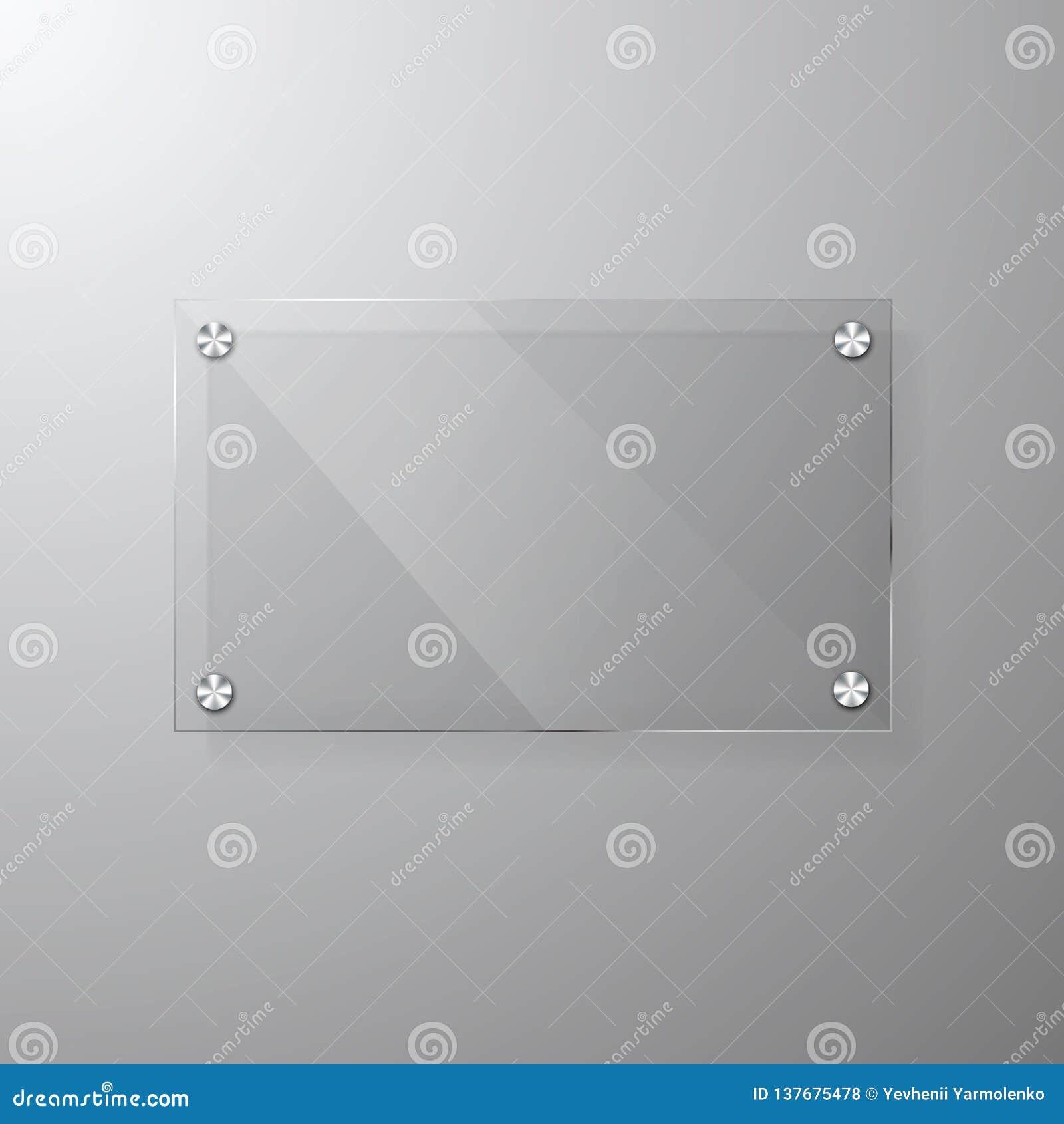 Modern glas- signagemall för vektor med utrymme för meddelande Klar åtlöje för akrylskyltdesign upp