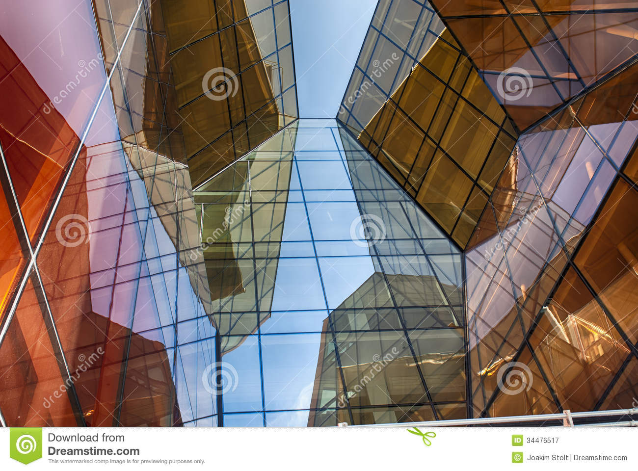 Modern glass building in abstract