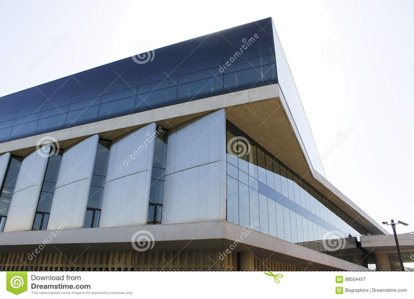 Modern glass building architecture corner view