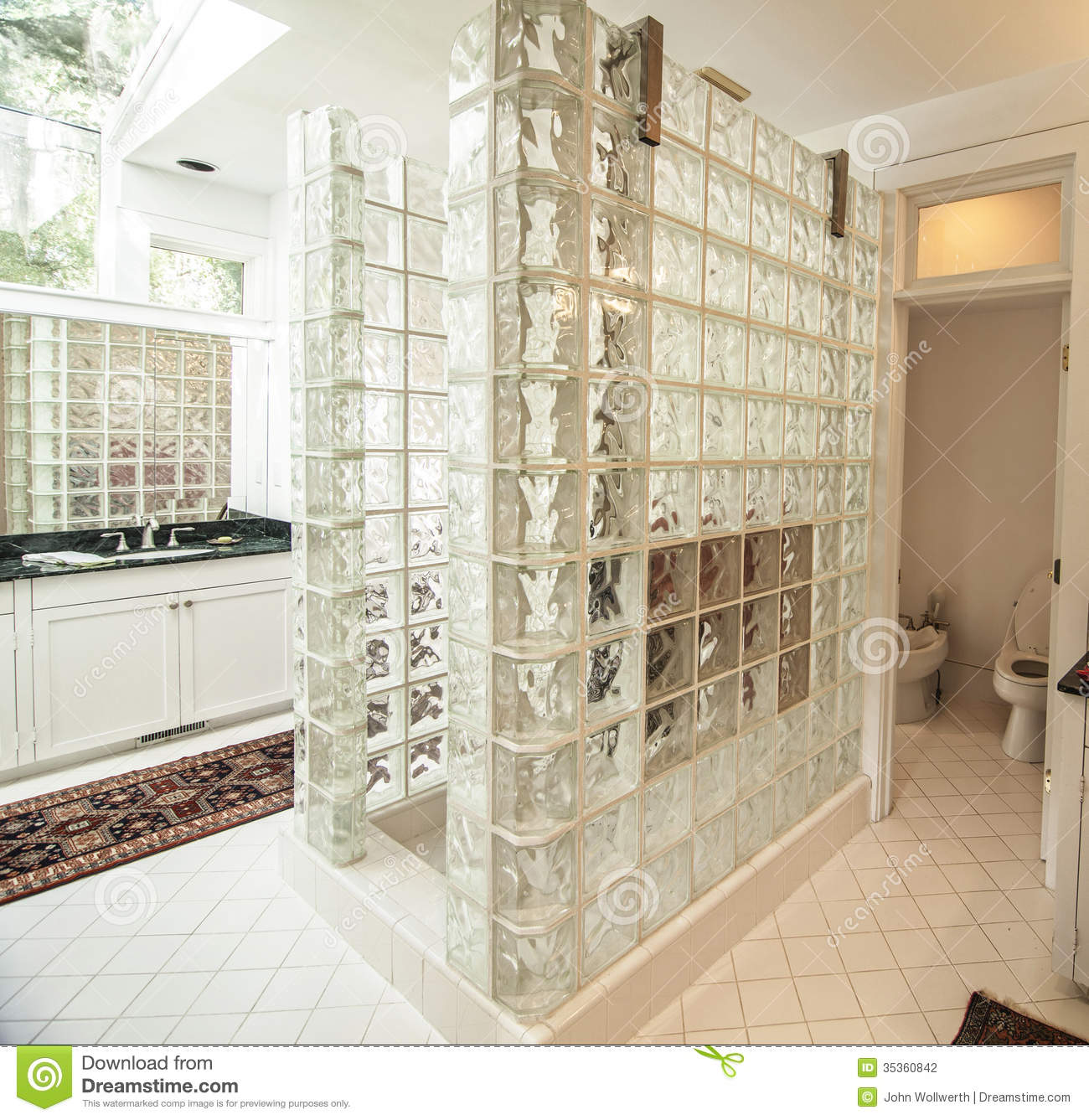 Modern glass and tile bathroom stock photography image - Smart tiles chez leroy merlin ...