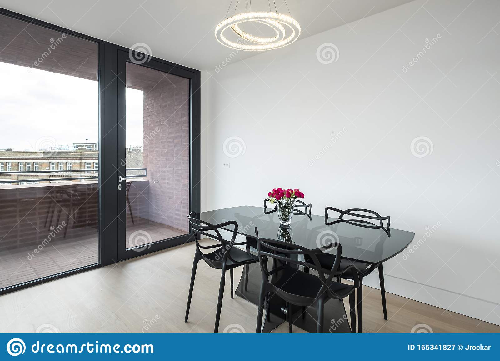 Modern Glass Top Dining Table Stock Image Image Of Door Shape 165341827
