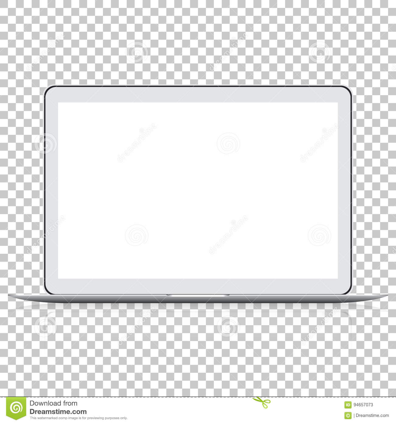 modern glossy laptop on transparent background  stock vector