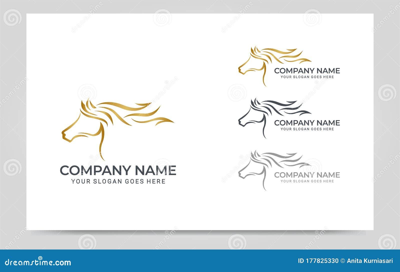 Modern Gold Abstract Horse Logo Design Animal Logo Design Stock Vector Illustration Of Background Black 177825330