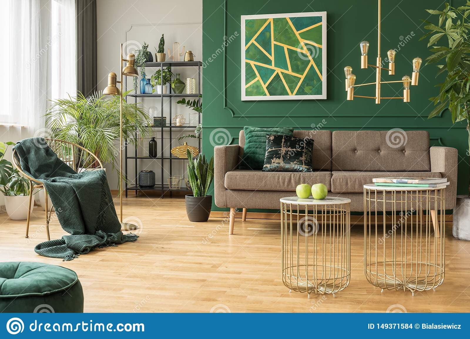 Peachy Modern Gold And Green Living Room Design Stock Photo Image Home Interior And Landscaping Ologienasavecom