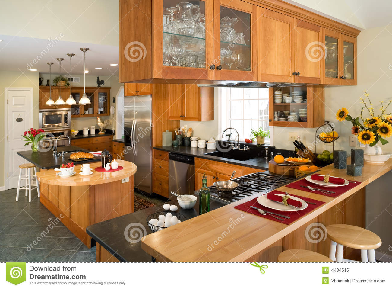 Modern Gourmet Kitchen With Breakfast. Royalty Free Stock ...