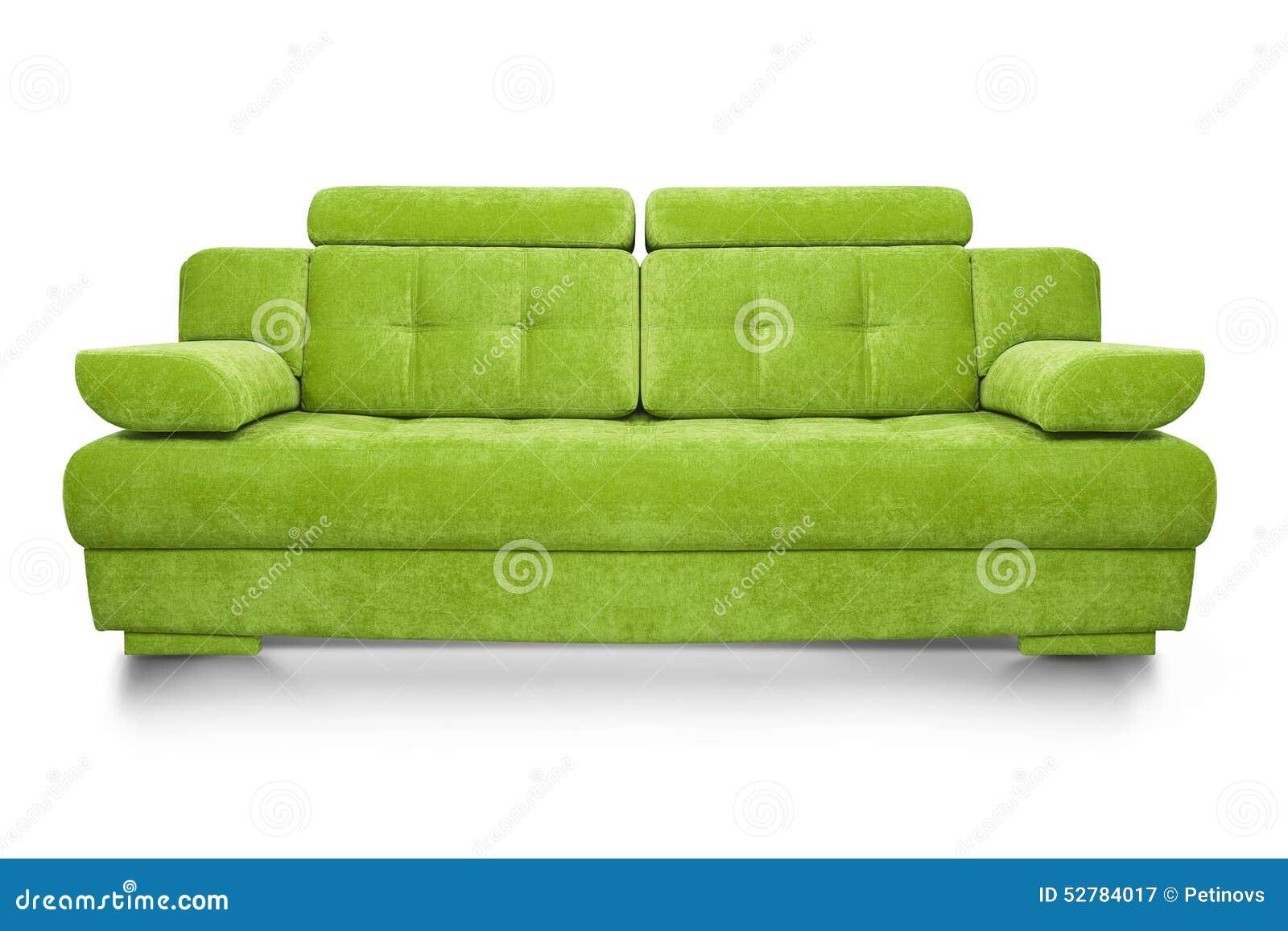 Modern grön soffa som isoleras på vit bakgrund
