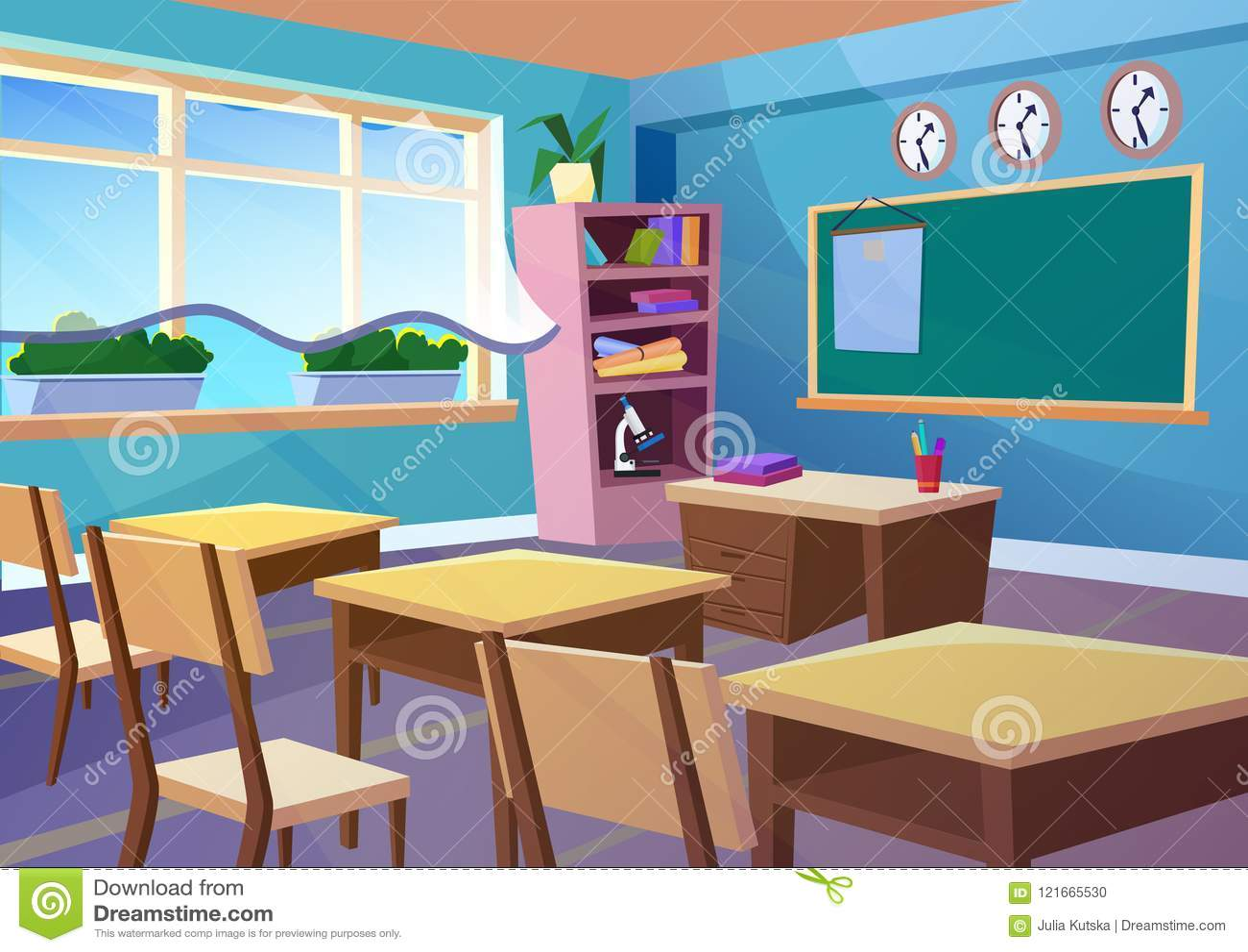 Modern gradient flat vector illustration of cartoon empty school