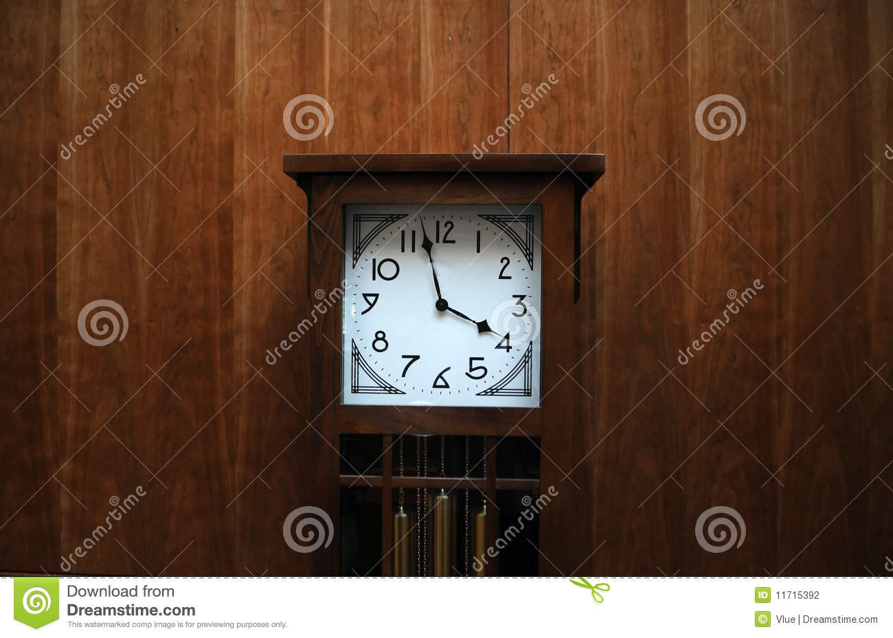 Modern grandfather clock against wooden wall stock photography image 11715392 - Wall mounted grandfather clock ...