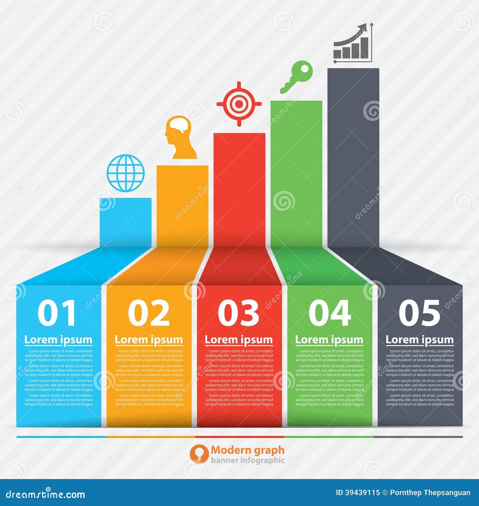 Vector Illustration Web Designs: Modern Graph Banner Infographic Stock Vector
