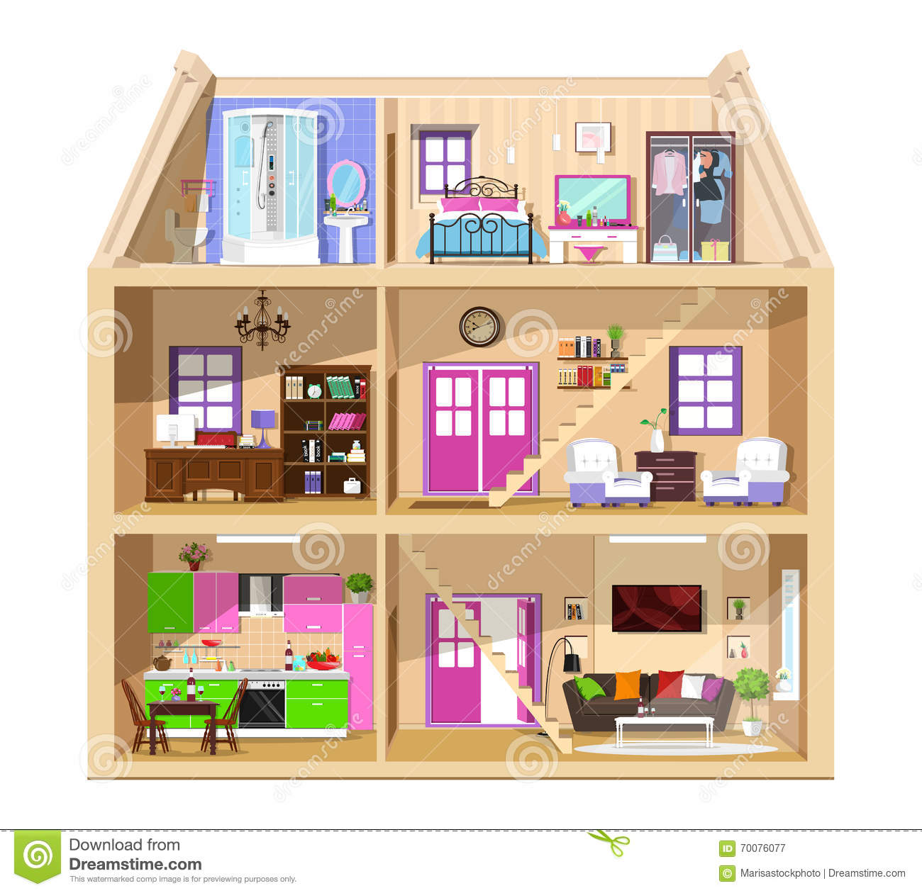 Modern Graphic Cute House In Cut Detailed Colorful Vector