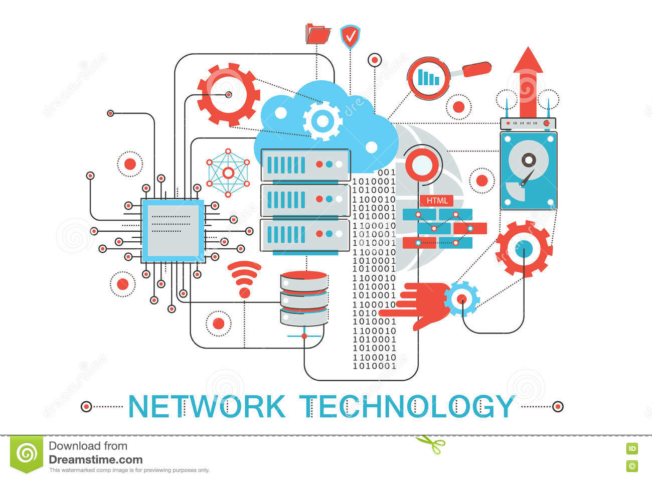 Modern graphic flat line design style infographics concept of global Network technology with icons, for website