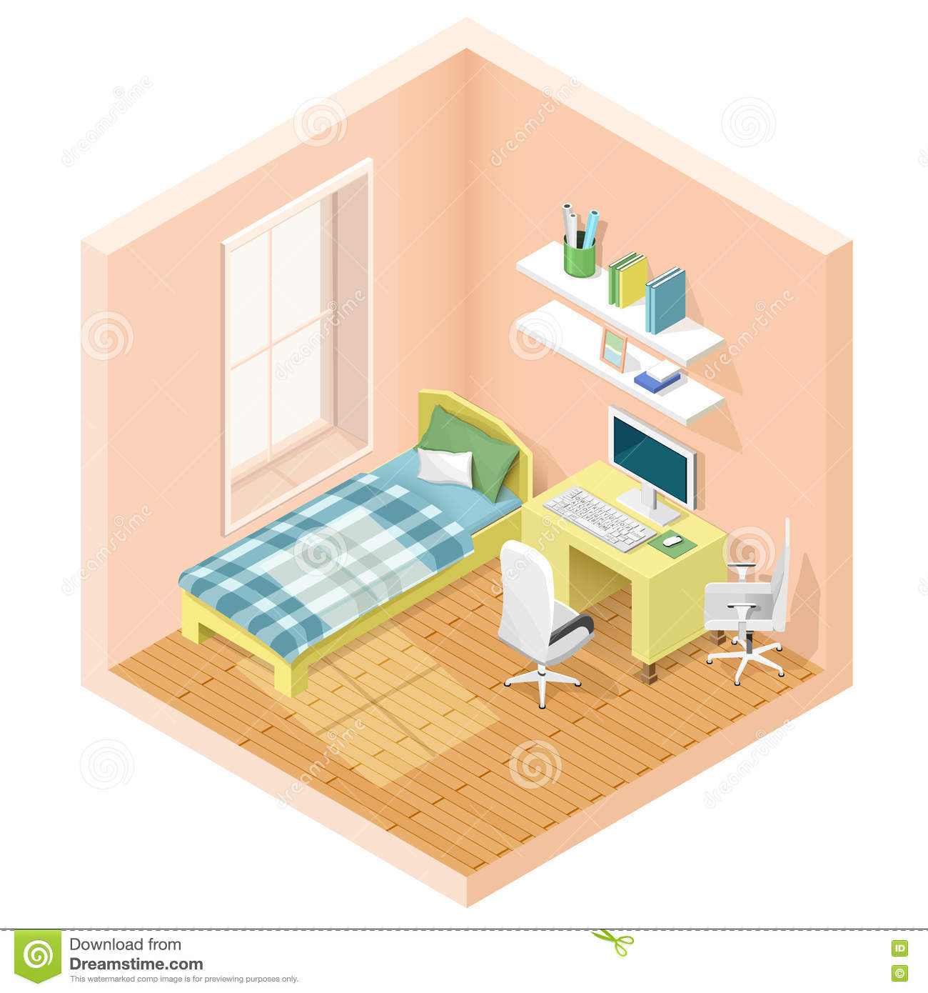 Vector Isometric Rooms Icon Stock Vector: Modern Graphic Isometric Room With Bed And Workplace