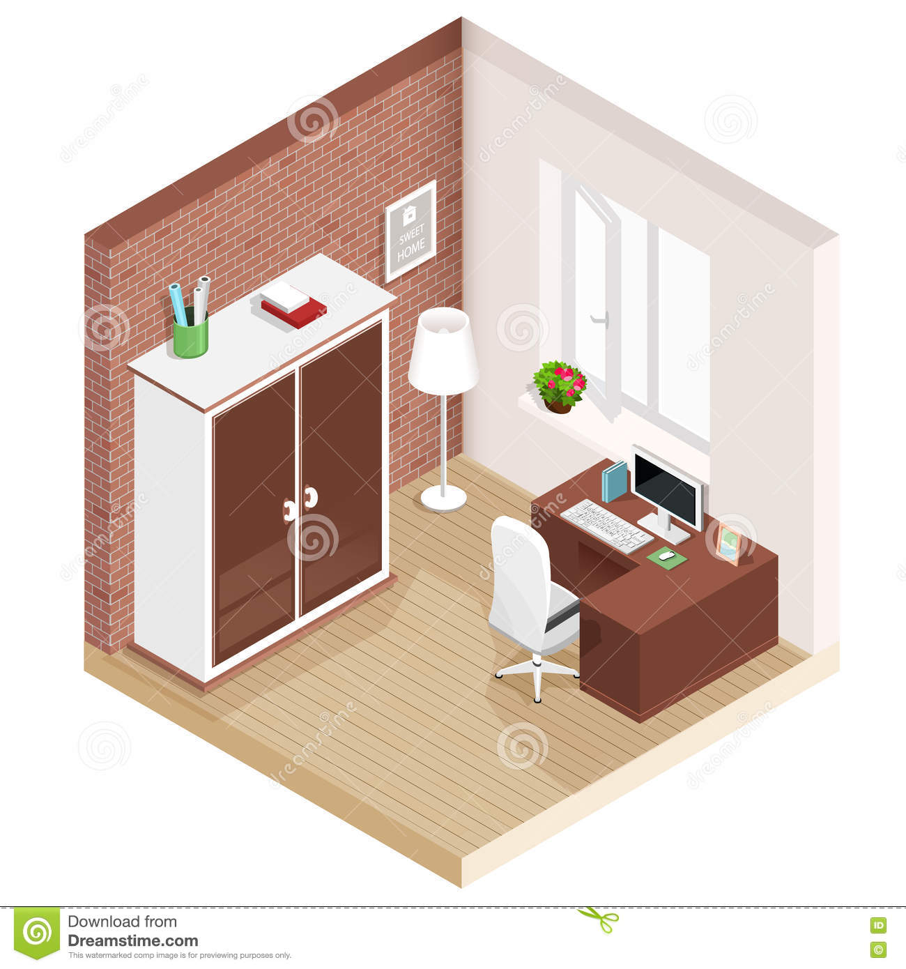 Vector Isometric Rooms Icon Stock Vector: Modern Graphic Isometric Room With Workplace And Wardrobe