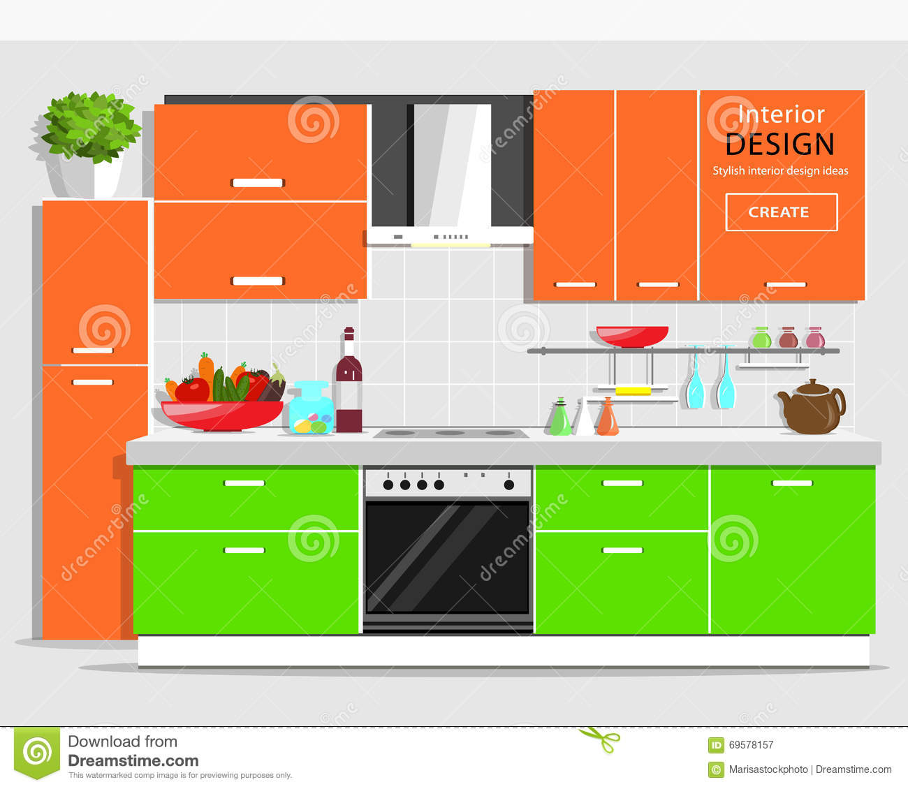 Modern graphic kitchen interior design colorful kitchen with furniture flat style kitchen and - Doing home interior design online ...