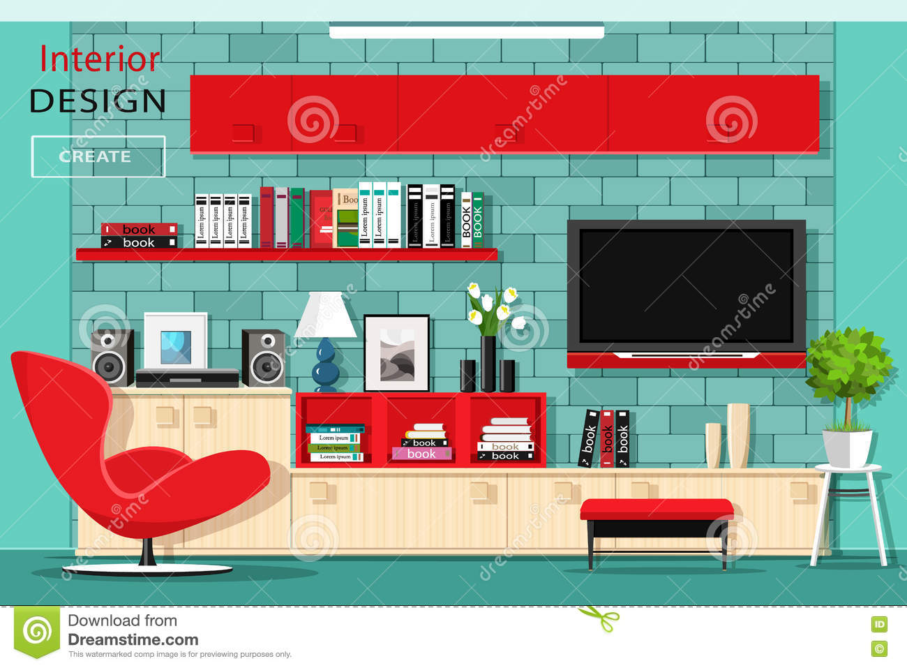 Flat Furniture Graphic Illustration Interior Living Modern Red Room