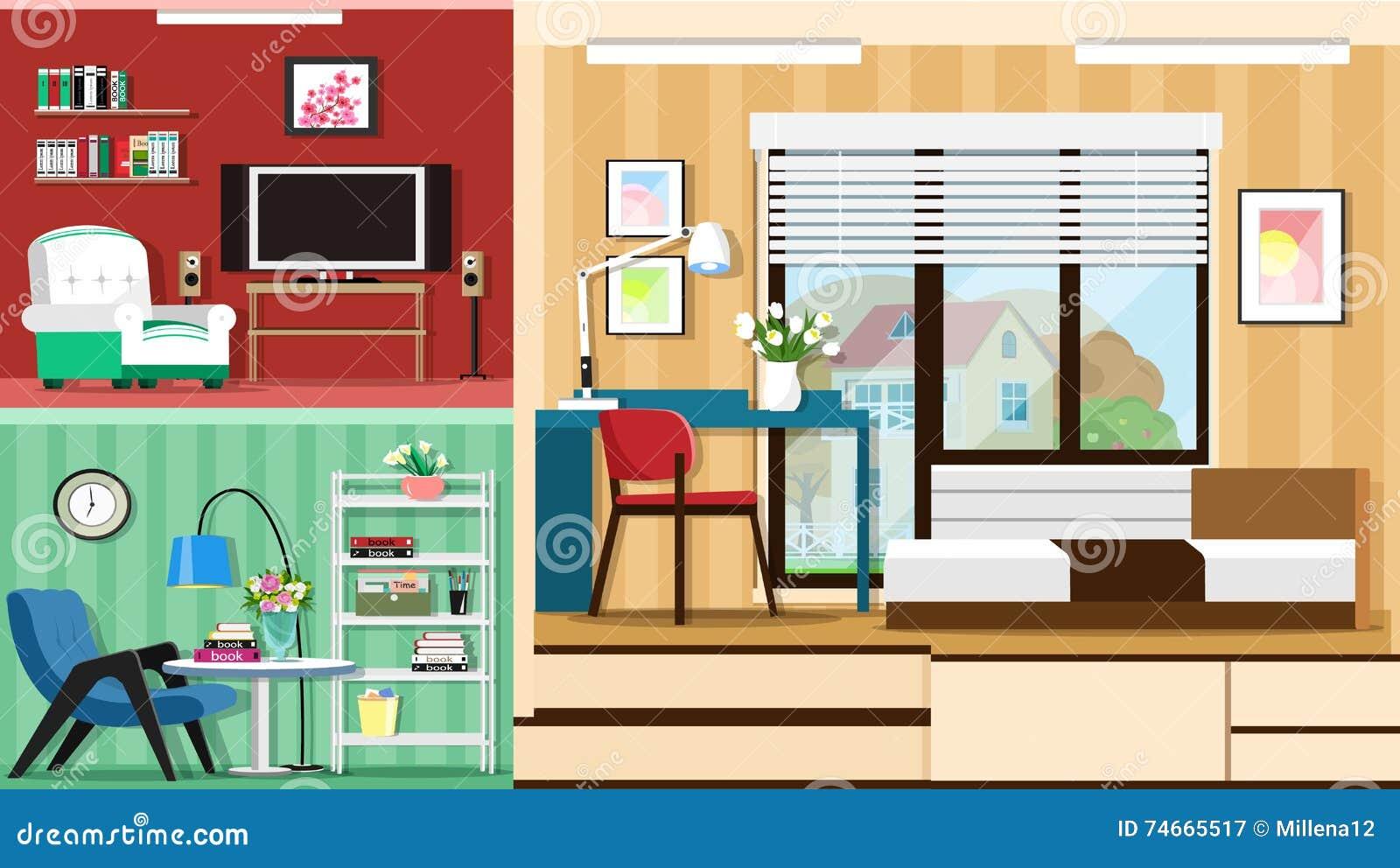 Modern Graphic Set Of Stylish Room Furniture Room