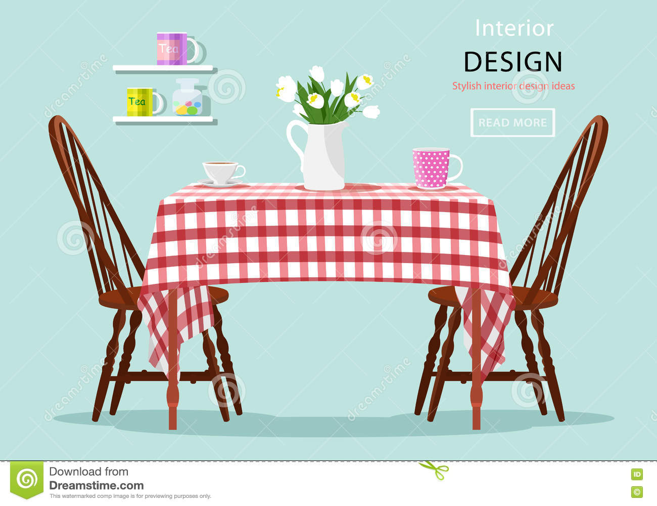 Modern graphic vector concept of dining table with chairs