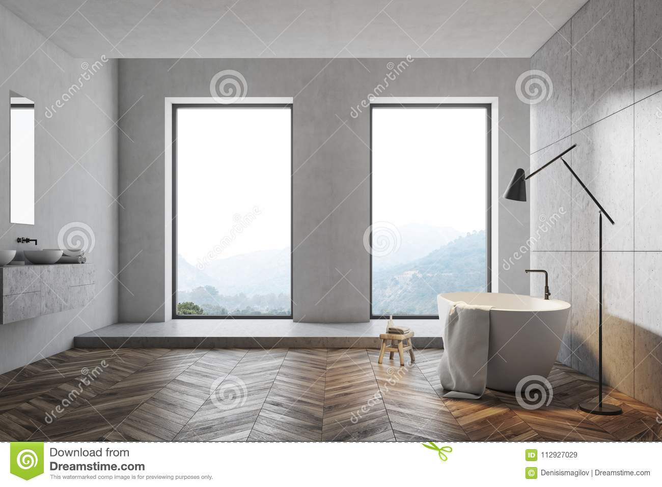 Modern gray bathroom idea stock illustration. Illustration of ...