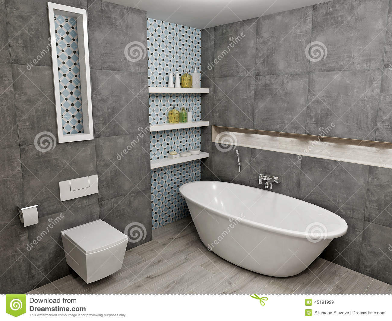 Modern Gray Bathroom Stock Illustration Illustration Of