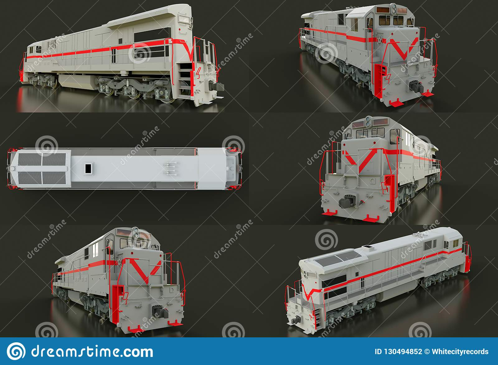 Modern Gray Diesel Railway Locomotive With Great Power And