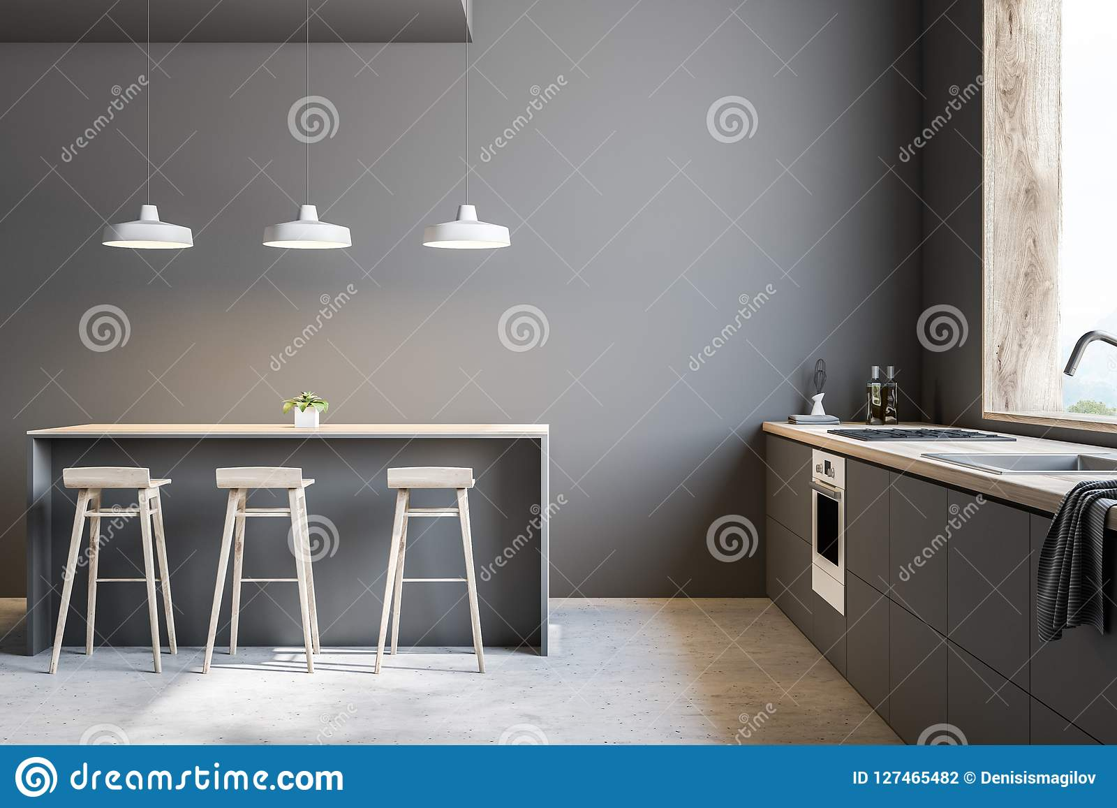 Wondrous Modern Gray Kitchen With Bar And Stools Stock Illustration Pdpeps Interior Chair Design Pdpepsorg