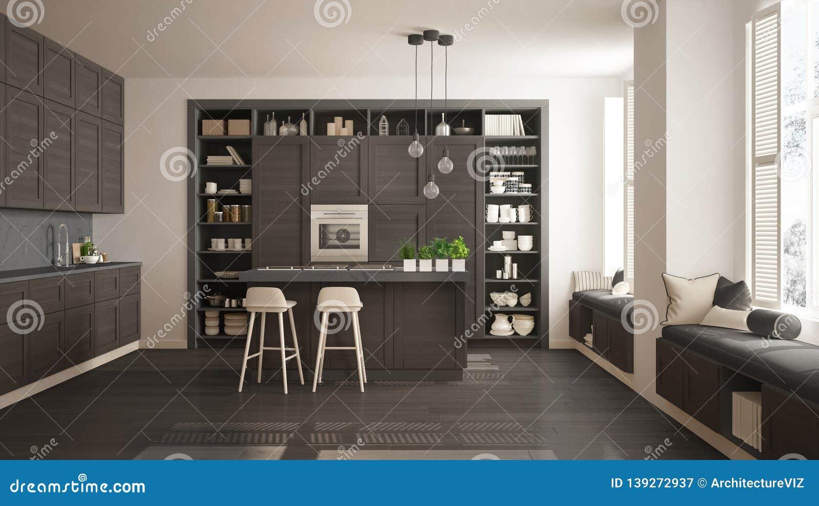Modern Gray Kitchen With Dark Wooden Details In Contemporary Luxury