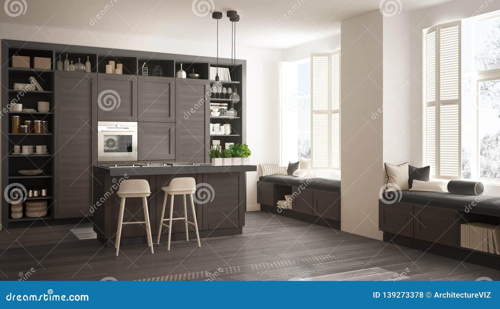 Modern Gray Kitchen With Dark Wooden Details In Contemporary