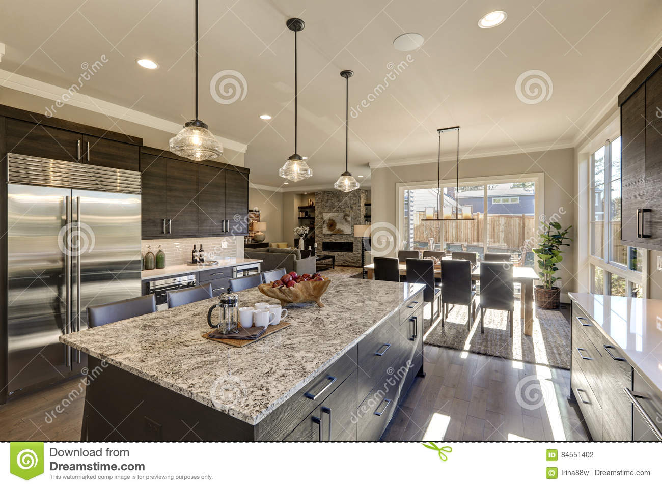 Modern Gray Kitchen Features Dark Gray Cabinetry Stock Photo Image