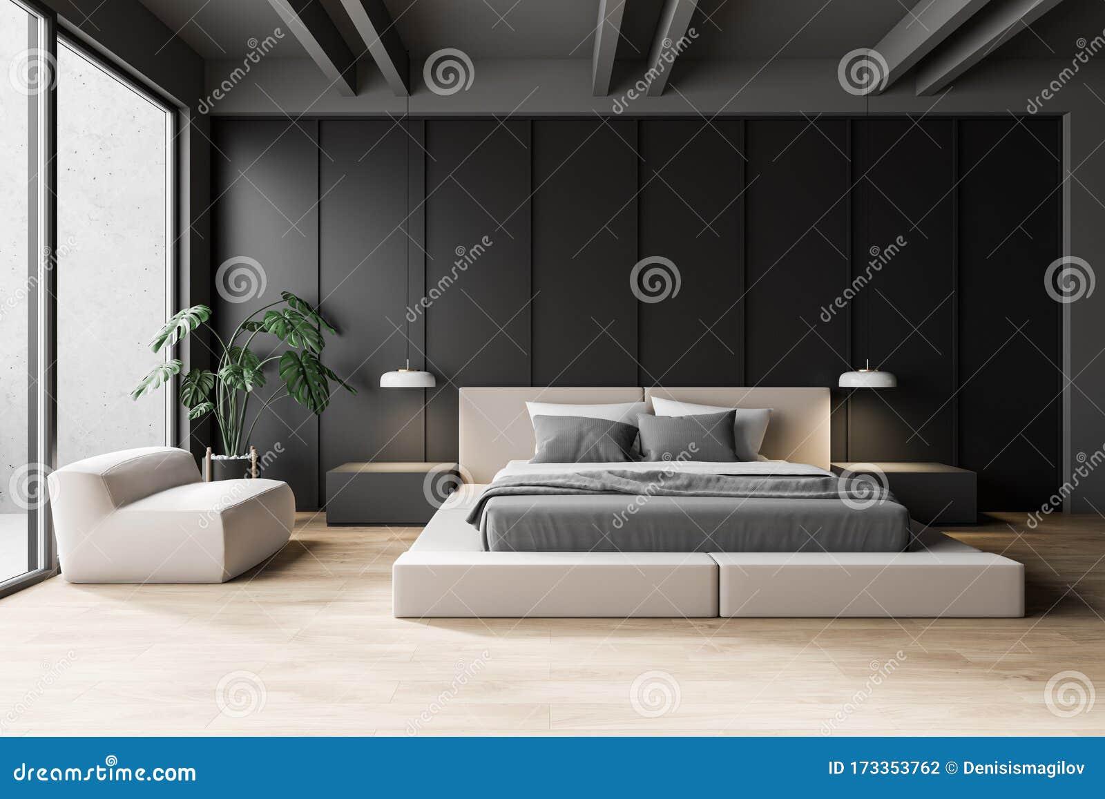 Modern Gray Master Bedroom Interior Stock Illustration Illustration Of Armchair Master 173353762