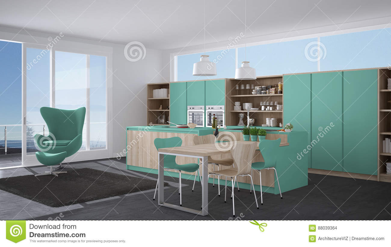 Modern gray and turquoise kitchen with wooden details big window with sea or lake panorama