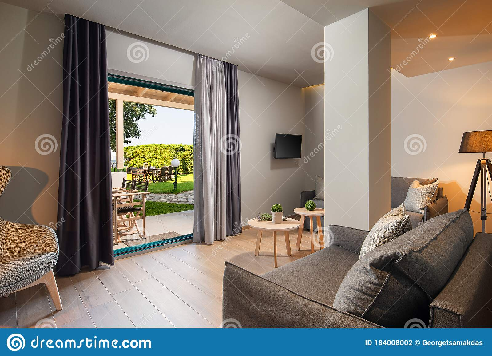 Modern Gray And Wooden Living Room With Big French Window And Green Garden Terrace Eco Style Interior Concept Design Stock Photo Image Of Home Interior 184008002