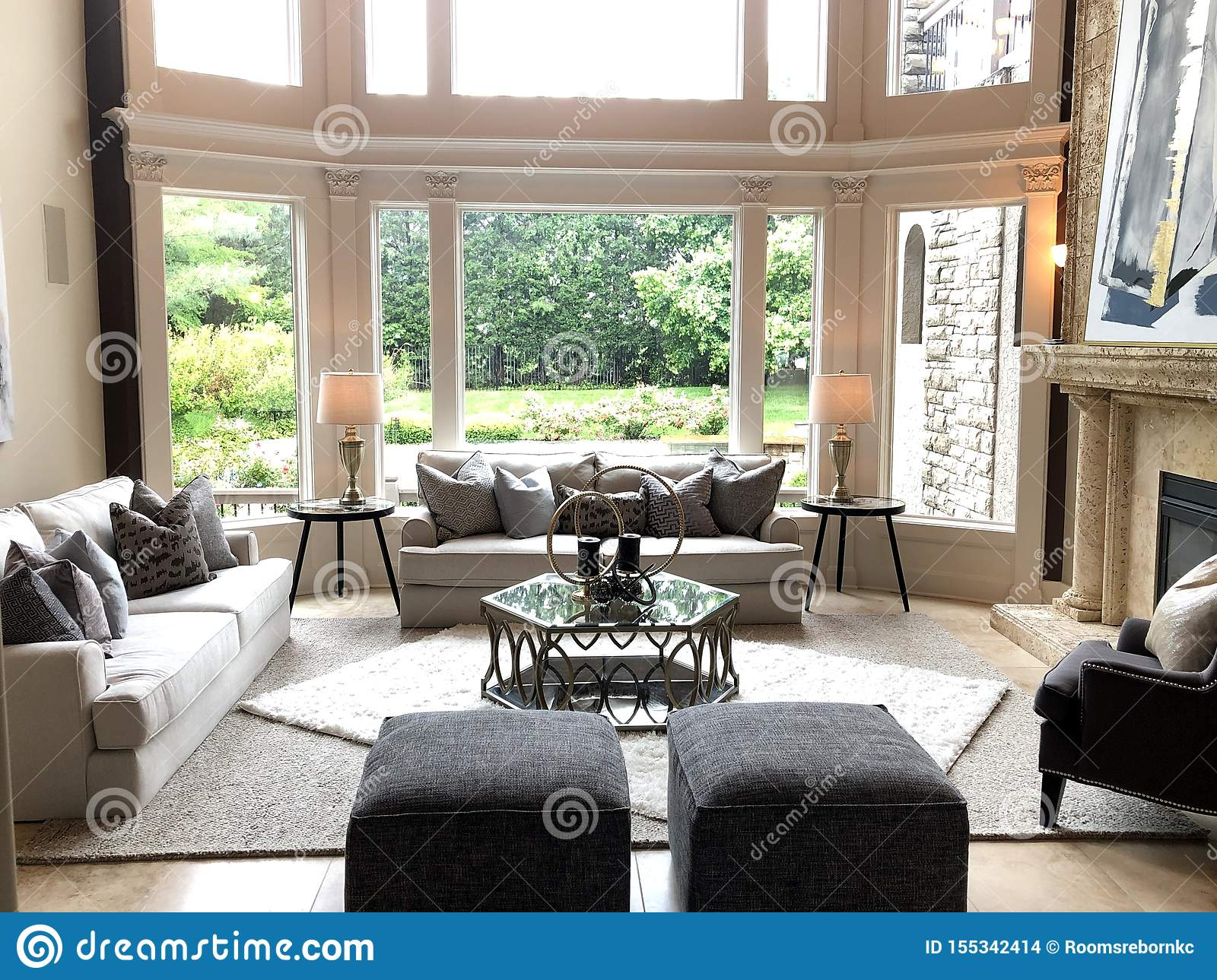 modern great room large windows traditional living exudes fort asymmetrical space balance achieved both