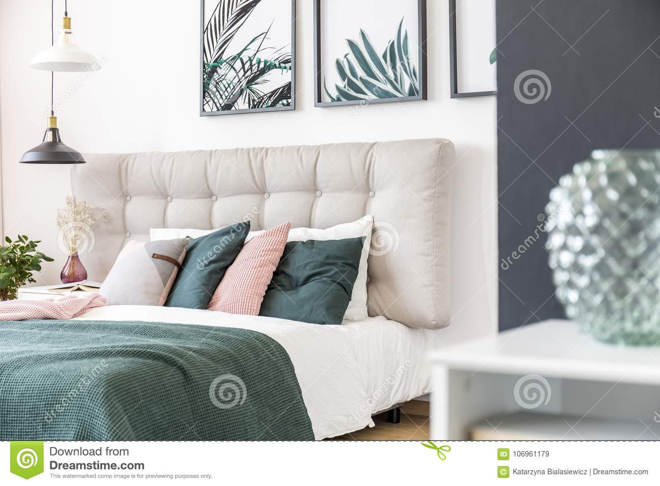 Modern Green Bedroom Interior Stock Image - Image of modern, decor ...