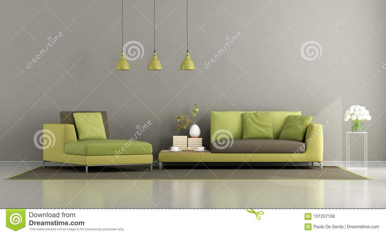 Modern Green And Brown Living Room Stock Illustration Illustration Of Furniture Chaise 101237138