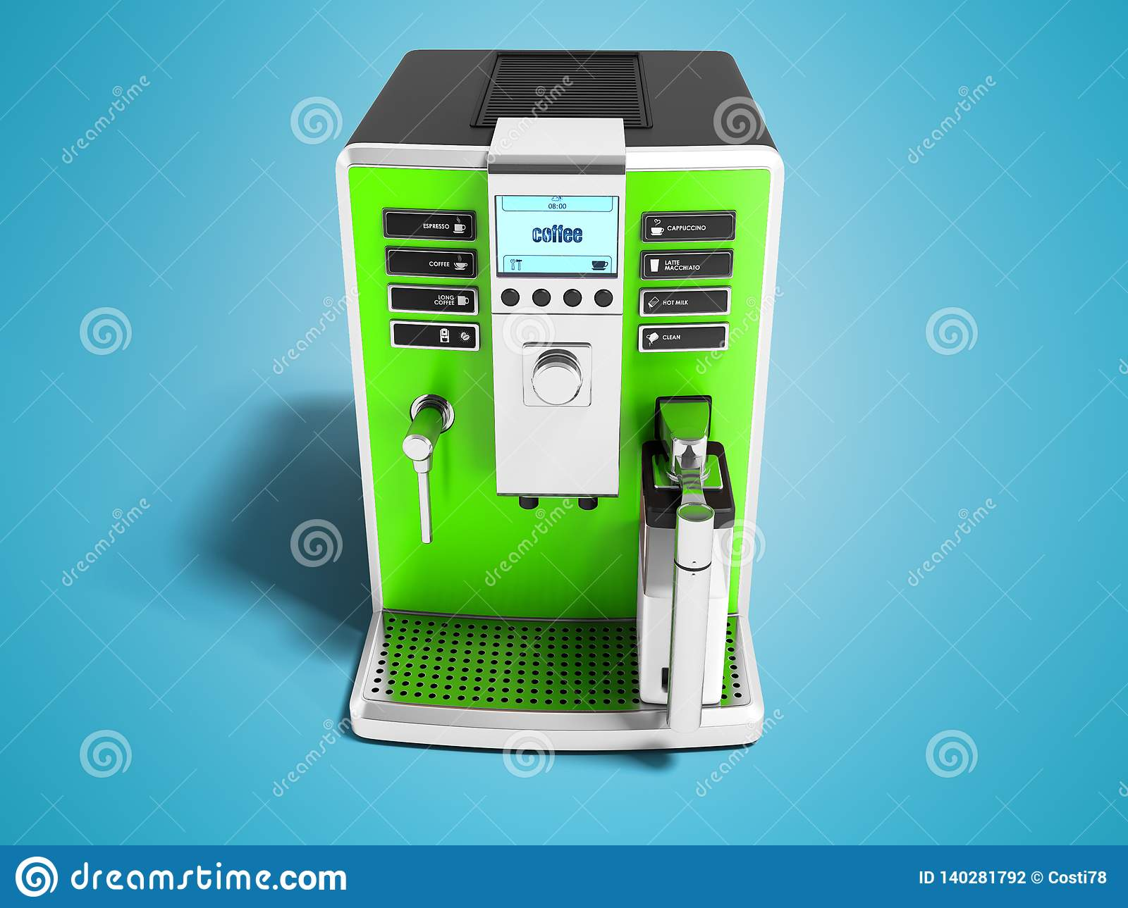 Dispense Mobili Moderne.Modern Green Coffee Machine With Milk Dispenser On One Cup