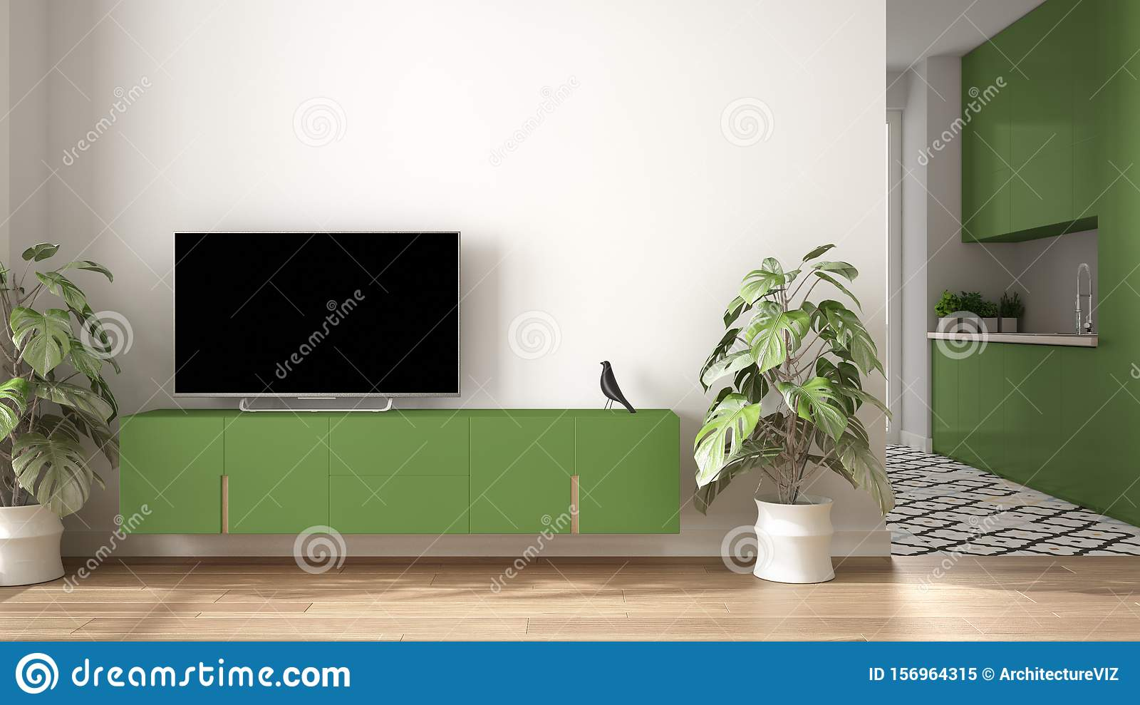 Modern Green Colored Minimalist Living Room With Small ...