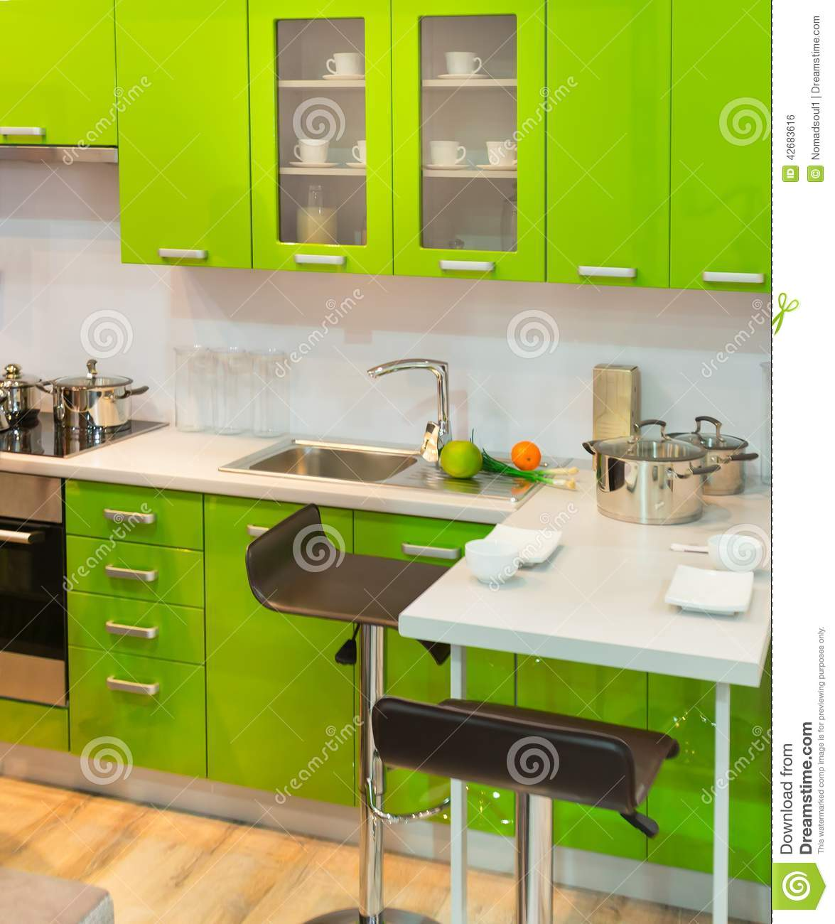Modern green kitchen clean interior design stock photo for Modern green kitchen designs
