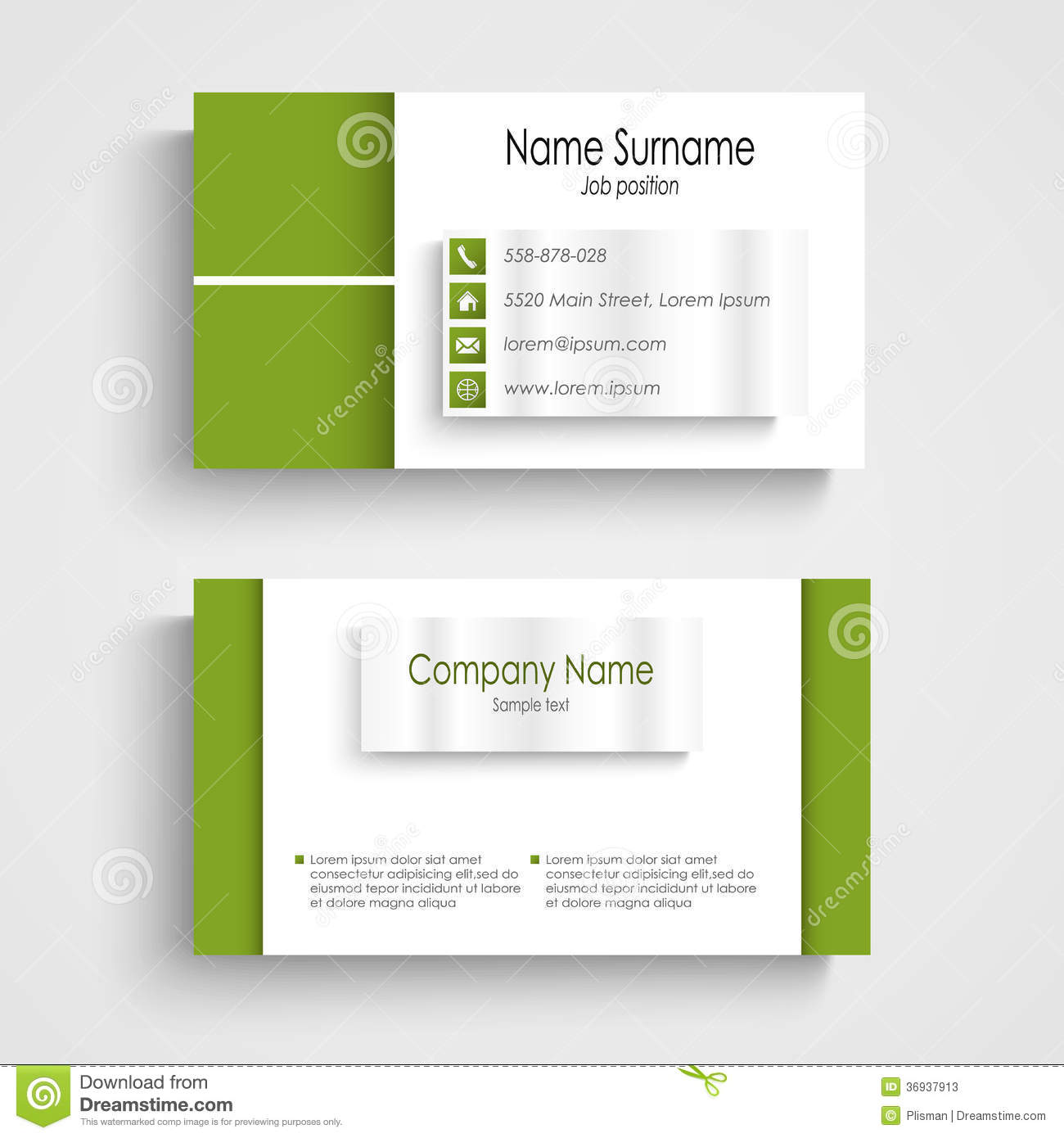 Modern green light business card template stock vector for Business card eps template