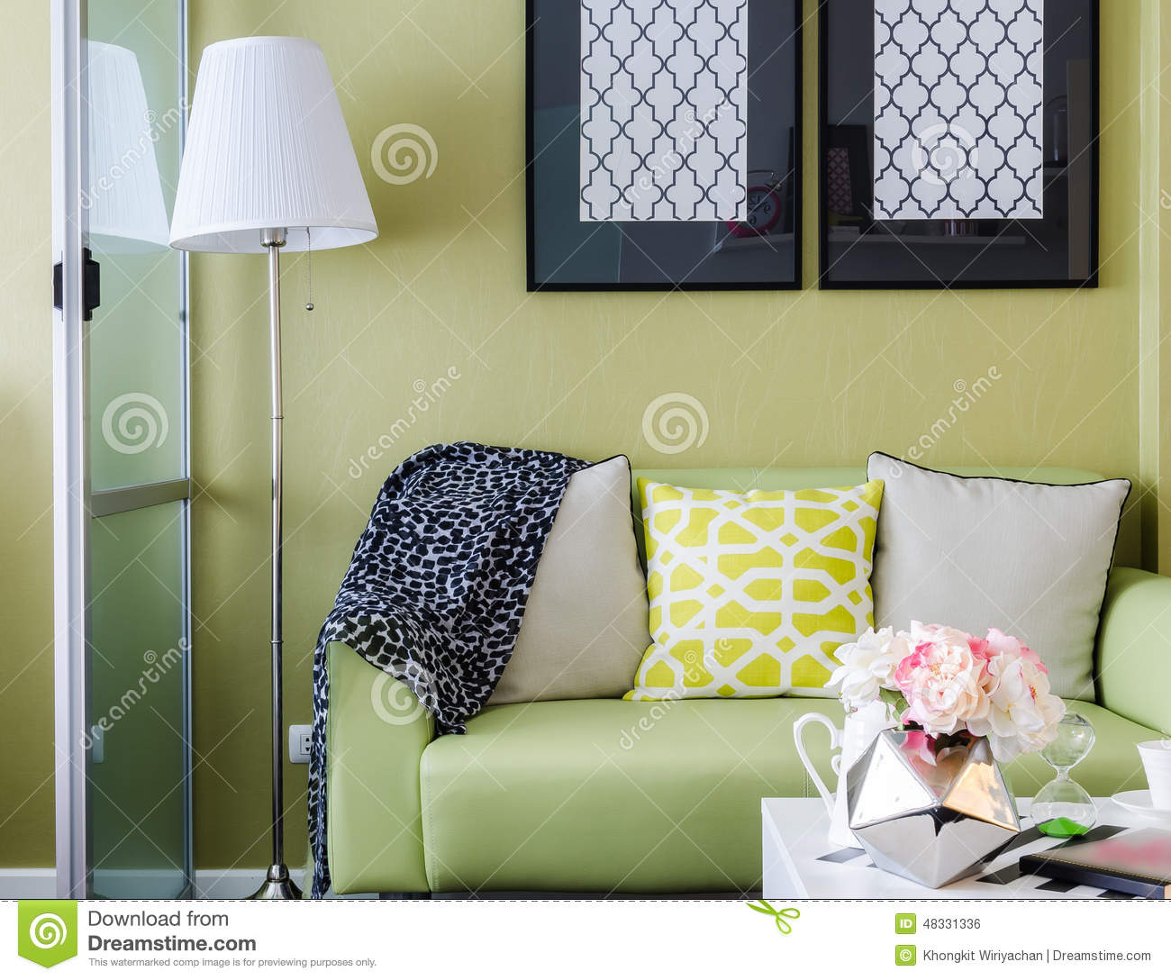 Modern green living room design stock photo image 48331336 for Modern living room green