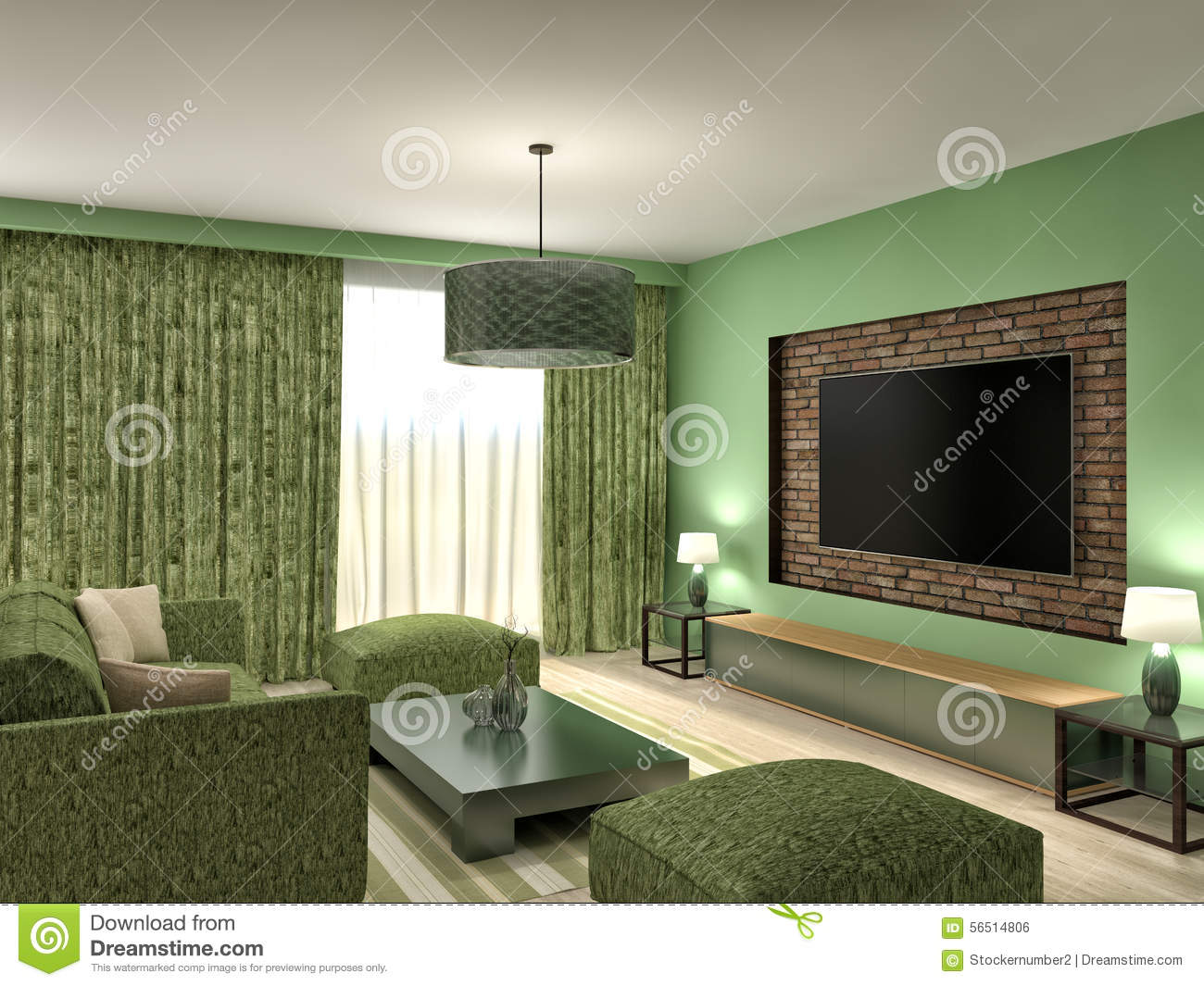 Modern green living room interior design 3d illustration for Modern living room green