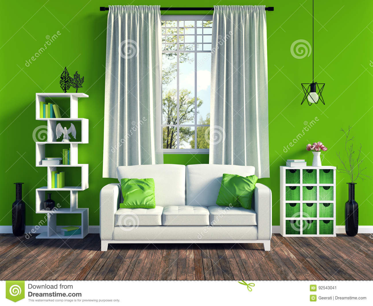 Modern green living room interior with white sofa and - White wooden living room furniture ...
